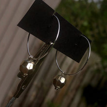 Load image into Gallery viewer, Bronze bezelled dangle hoop earring