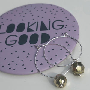 Bronze bezelled dangle hoop earring