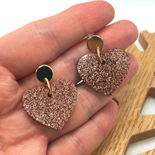 Load image into Gallery viewer, Gold and brown heart earrings