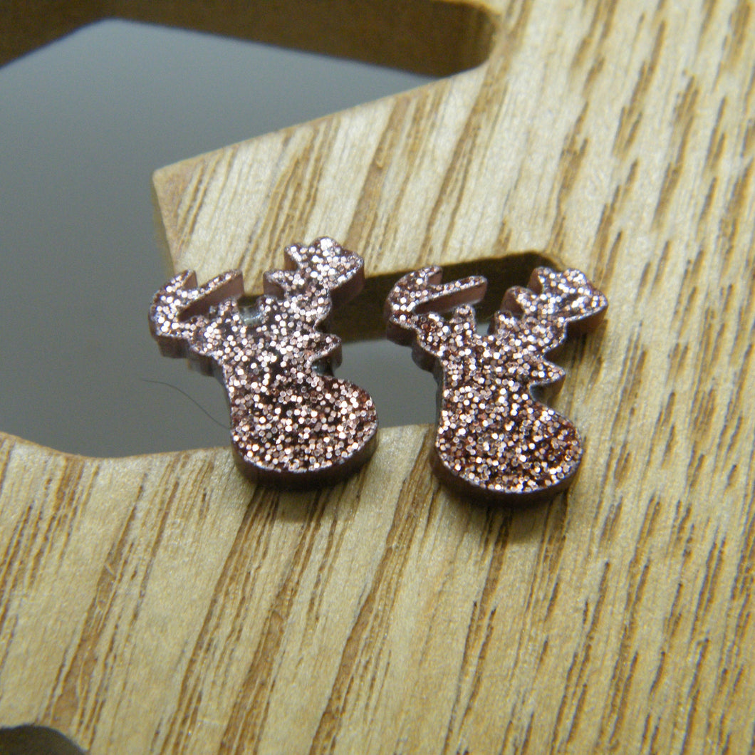 Brown glitter stag earrings