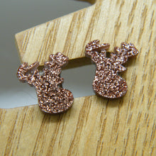 Load image into Gallery viewer, Brown glitter stag earrings