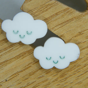 White cloud stud earrings