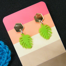 Load image into Gallery viewer, Gold and lime monstera earrings
