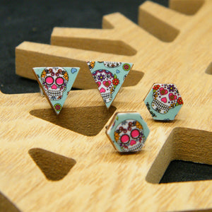 Dia de Los Muertos - skull - stud earrings