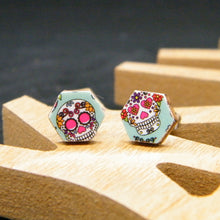 Load image into Gallery viewer, Dia de Los Muertos - skull - stud earrings