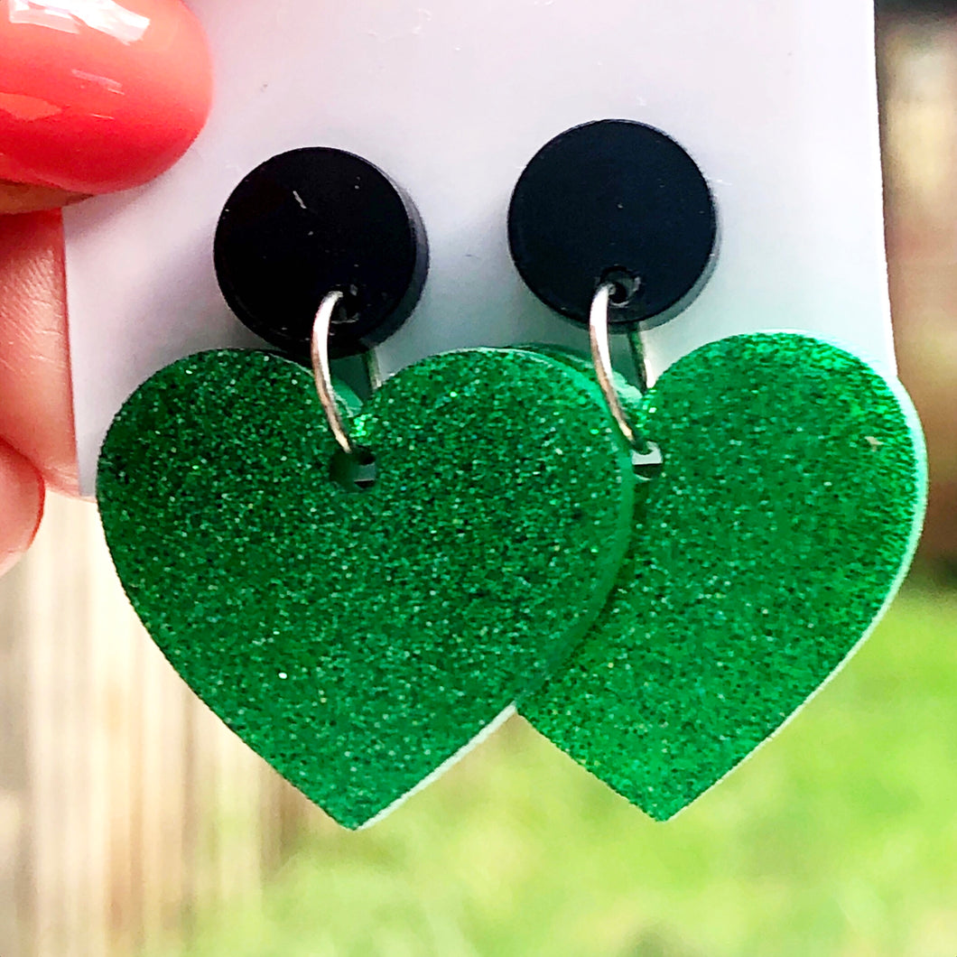 Green glitter heart earrings