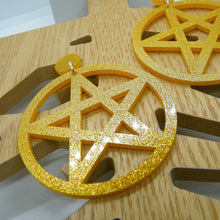 Load image into Gallery viewer, Gold glitter pentagram statement earrings