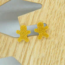 Load image into Gallery viewer, Gold gingerbread stud earrings