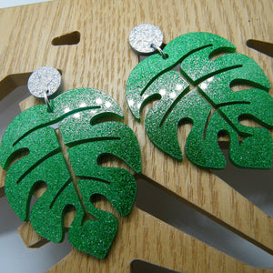 Green glitter monstera earrings
