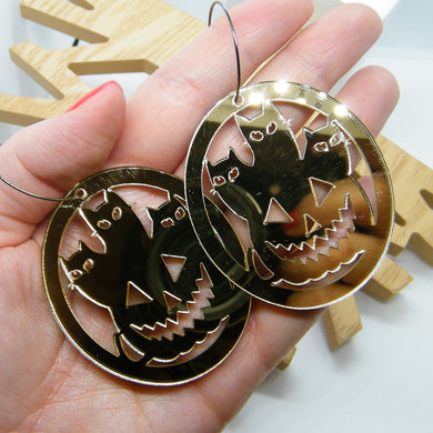 Gold mirror cats and pumpkin hoop earrings