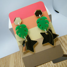Load image into Gallery viewer, Green and gold monstera earrings