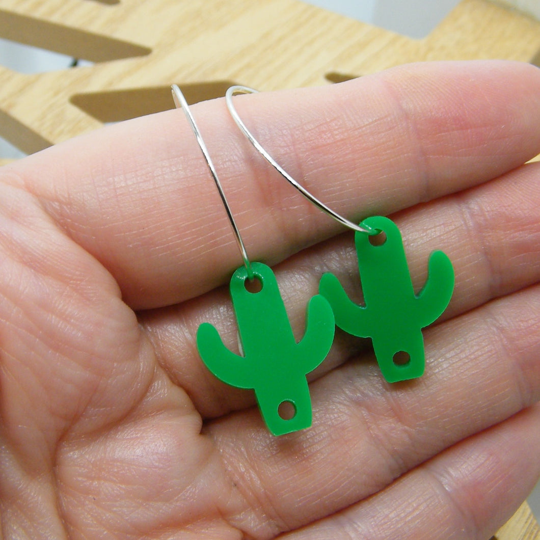 Green cactus hoop earrings