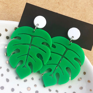 Green and white monstera leaf earrings