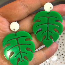 Load image into Gallery viewer, Green and white monstera earrings