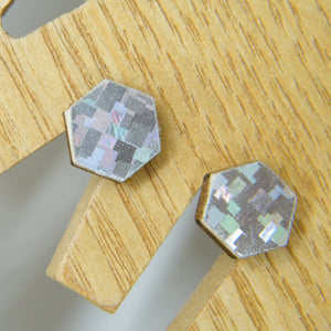 Holographic stud earrings
