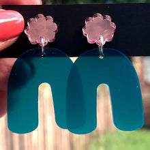 Load image into Gallery viewer, Green and pink arch earrings