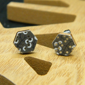 Metallic Berry hexagon stud earrings