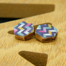 Load image into Gallery viewer, Mixtape hexagon stud earrings