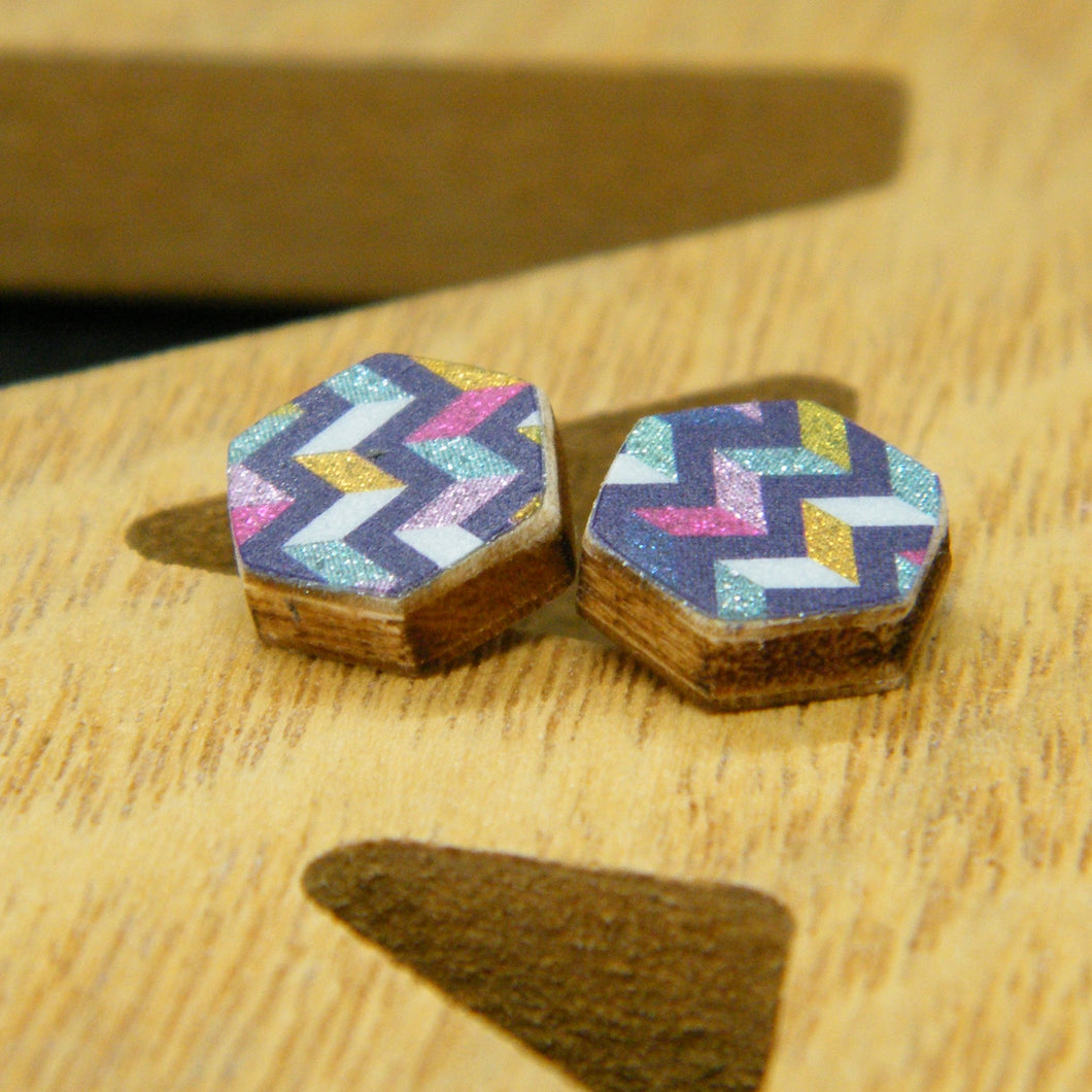 Mixtape hexagon stud earrings