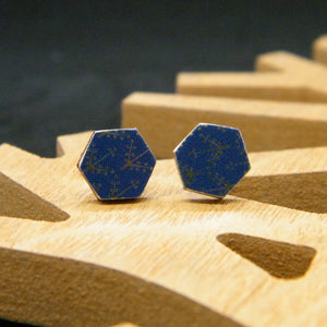 Nordic Navy hexagon stud earring