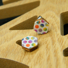 Load image into Gallery viewer, Painted Polka hexagon stud earring
