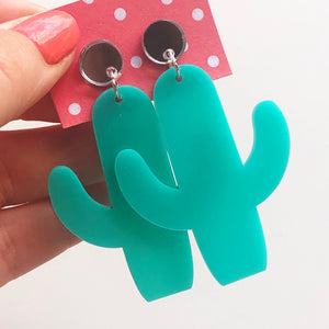 Turquoise and silver cactus earrings