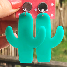 Load image into Gallery viewer, Turquoise and silver cactus earrings