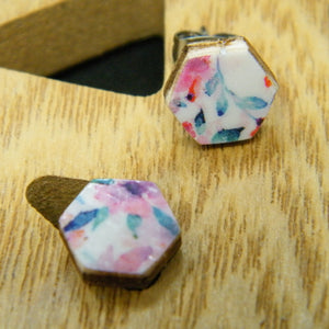 Pink Floral hexagon stud earrings