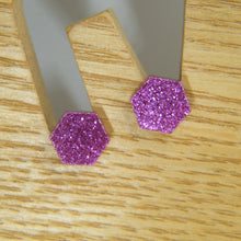 Load image into Gallery viewer, Glitter hexagon stud earrings
