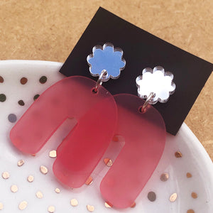 Pink and silver arches earrings