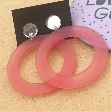 Pink hoop and mirror silver earrings