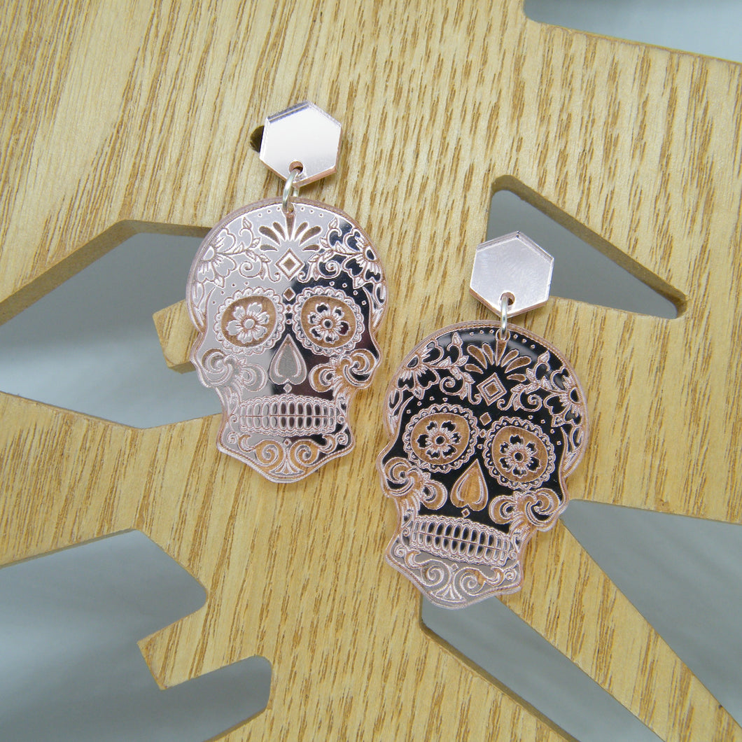Pink sugar skull earrings