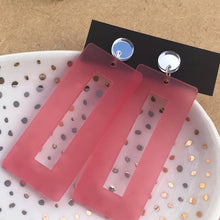 Load image into Gallery viewer, Pink rectangles with mirror silver studs