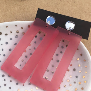 Pink rectangles with mirror silver studs
