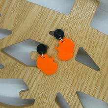 Load image into Gallery viewer, Orange pumpkin statement earrings
