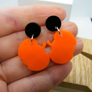 Orange pumpkin statement earrings