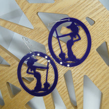 Load image into Gallery viewer, Purple witch hoop earrings