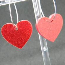 Load image into Gallery viewer, Red glitter heart hoop earrings