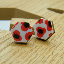 Load image into Gallery viewer, Red Poppy stud earrings