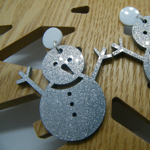 Silver snowman earrings