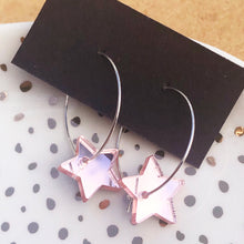 Load image into Gallery viewer, Small pink mirroed heart hoop earring