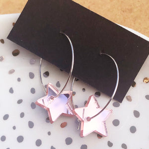 Small pink mirroed heart hoop earring