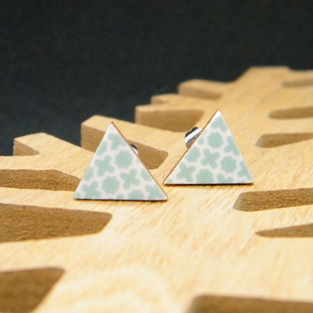 Teal quartrefoil triangle earring