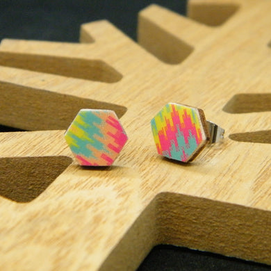 Tropical Mirage hexagon stud earrings