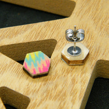 Load image into Gallery viewer, Tropical Mirage hexagon stud earrings