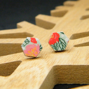 Tropical Shirt hexagon stud earring