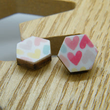 Load image into Gallery viewer, Watercolour hearts stud earring