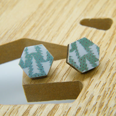 Wintergreen hexagon stud earrings