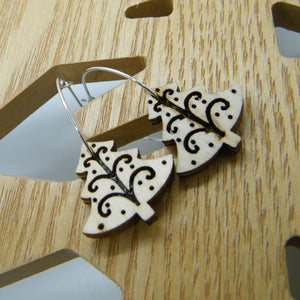 Wooden Christmas tree hoop earrings