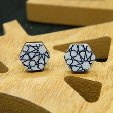 Load image into Gallery viewer, Festival Vibes hexagon stud earring